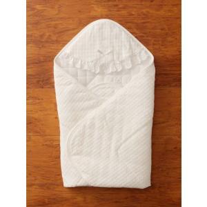 日本製 ベビーウェア 退院アフガン ベビー オールシーズン おくるみ コットン 刺しゅう 白 パイル 退院 新生児|angeliebe