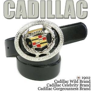 キャデラック  ラインストーン  シルバー エンブレム ビッグバックル ノーマルタイプブラックベルト(CADILLAC黒ジルコニアアメ車ANGELINA)|angelina