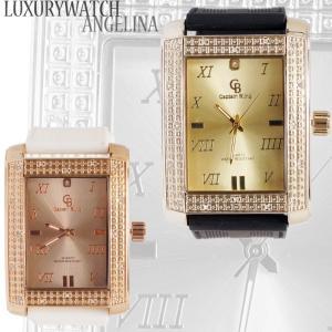 Captain Bling 男性用メンズ腕時計 ロレンツォ レクタンギュラー長方形 ラインストーンラグジュアリー ラバーベルトウォッチクォーツ  ロレックス好きにも|angelina