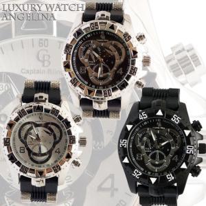 Captain Bling 男性用メンズ腕時計 ディオン クロノグラフシルバーラグジュアリー ブラックラバーベルトウォッチロレックス好きにも|angelina