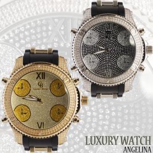 Captain Bling ダイヤモンド アシュトン ラグジュアリーラバーベルトウォッチ腕時計電池式 アナログクォーツ 紳士腕時計メンズブリンブリンG-SHOCK好きにも|angelina