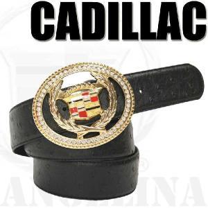 【男女兼用】キャデラックゴールドエンブレムオーストリッチ柄ラインストーンブラック ベージュ ビッグバックル ベルト(CADI、黒、ジルコニアANGELINA)|angelina