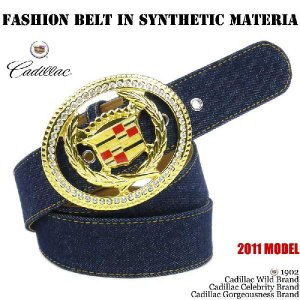 キャデラックデニムステッチゴールドビッグバックルベルト(ラインストーン、Fashion Belt In Synthetic Materia 、インディゴブルー)|angelina