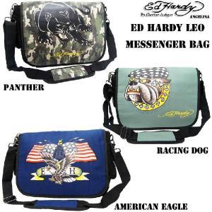 エドハーディー ロングセラー! Ed Hardy Leo American Eagle PantherRacing Dog Messenger Bag|angelina