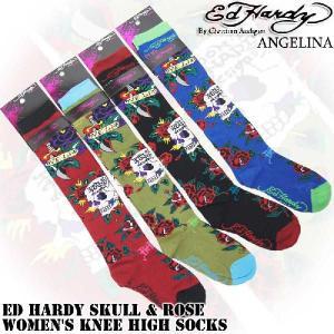 エドハーディースカル&ローズニーハイソックス エドハーディ靴下(ED HARDY エド・ハーディー Skull & Rose Women's Knee High Socks EH02705KH|angelina