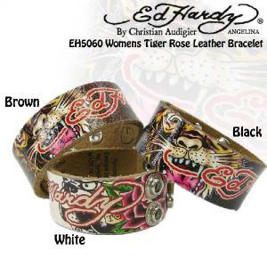 【女性用】エドハーディータイガーローズタトゥーロゴ本革ベルトブレス(白、黒、茶色、Ed Hardy EH5060 Womens Tiger Rose Leather Bracelet、EH5060)|angelina