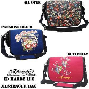 エドハーディー ロングセラー! Ed Hardy Leo Paradise Beach All Over Butterfly Messenger Bag|angelina