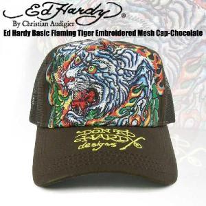 エドハーディー Ed Hardy Basic Flaming Tiger Embroidered Mesh Cap-Chocolate(メッシュキャップ タイガー チョコレートブラウン フリーサイズ)|angelina