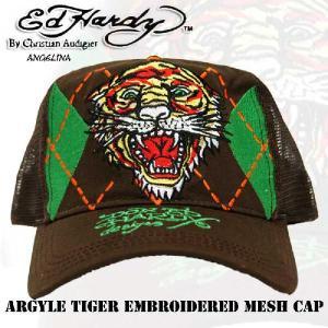 エドハーディー Ed Hardy Argyle Tiger Embroidered Mesh Cap-Brown(メッシュキャップ タイガー ブラウン フリーサイズ 男女兼用 デニム |angelina