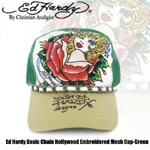 エドハーディー Ed Hardy Basic Chain Hollywood Embroidered Mesh Cap-Green(メッシュキャップ グリーン/ホワイト ハリウッド |angelina