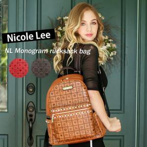 2018新作!NICOLE LEE ニコールリー P12345 モノグラム大人リュックバッグ ビジューカラーストーン ハンサム可愛い  シンプルバック  プレゼント   ニコルリー angelina