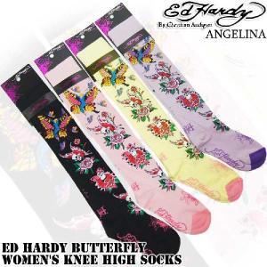 エドハーディー ニーハイソックスバタフライ エドハーディ靴下02703KH(ED HARDY エド・ハーディー Butterfly Women's Knee High Socks |angelina