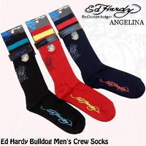 メンズハイソックス!エドハーディーブルドッグ エドハーディ靴下(ED HARDY エド・ハーディー Bulldog Men's Crew Socks # EH02707CS|angelina
