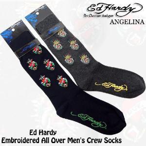 !エドハーディーブルドック&ラブ エドハーディ靴下(ED HARDY エド・ハーディー Embroidered All Over Men's Crew Socks # EH02709CS |angelina