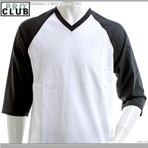 PRO CLUB Tシャツ プロクラブ ベースボールTシャツ BASEBALL V-NECK TEE COMFORT|angelitta