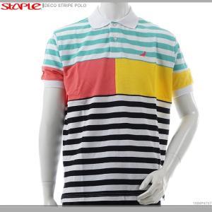 STAPLE ポロシャツ 半袖 ステイプル 半額セール DECO STRIPE POLO|angelitta