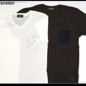 ZEPHYREN(ゼファレン) Tシャツ CAMOUFLAGE zephyren tシャツ Vネック メンズ|angelitta