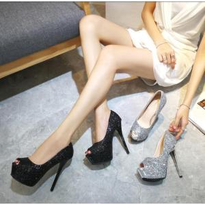 パンプス 靴 レディース キャバ 結婚式 アンクルストラップ サンダル オープントゥ 19cmヒール...