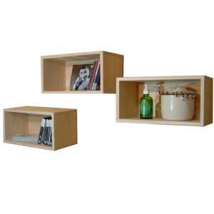 無塗装白木 壁掛けディスプレイボックス 三個組み(W33×D17×H17cm)CDラック 受注製作|angelsdust