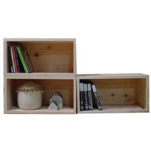 無塗装白木 ディスプレイボックス三個組み(W33×D17×H17cm)CDラック 受注製作|angelsdust