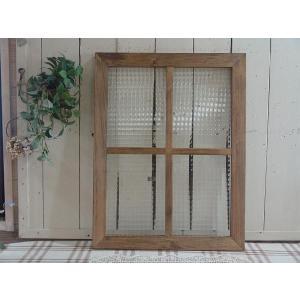 ガラスフレーム FIX窓 室内窓 カフェ窓 フランス製チェッカーガラスのガラスフレーム 桟入りガラス窓(45×60cm)アンティークブラウン 受注製作|angelsdust