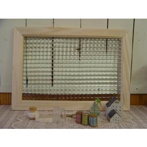 ガラスフレーム FIX窓 室内窓 カフェ窓 フランス製チェッカーガラス 50×2×35cm 無塗装白木 受注製作|angelsdust