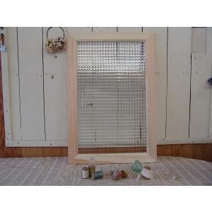 ガラスフレーム FIX窓 室内窓 カフェ窓 フランス製チェッカーガラス窓 片面仕様 40×2×60cm 無塗装白木 受注製作 angelsdust