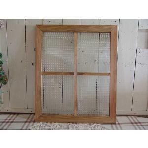 ガラスフレーム FIX窓 室内窓 カフェ窓 木製 ひのき チェッカーガラス 両面桟入り 50×60cm・厚み2.5cm (アンティークブラウン)受注製作 angelsdust