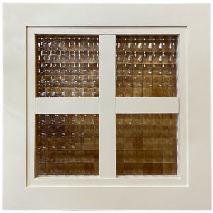 ガラスフレーム FIX窓 室内窓 カフェ窓 木製 ひのき フランス製チェッカーガラス 片面桟入り 桟入りガラス窓 25×25cm 北欧 アンティークホワイト 受注製作 angelsdust