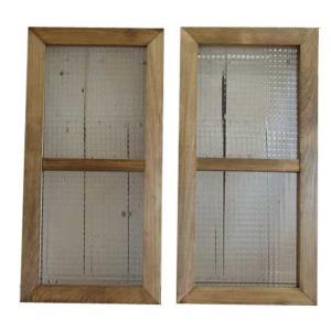 カフェ窓 フランス製チェッカーガラスの室内窓 採光窓 両面桟入り 観音開き2枚組み(35×70cm・厚み3.5cm)(アンティークブラウン) 受注製作|angelsdust