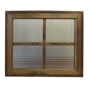 カフェ窓 FIX窓 フランス製チェッカーガラスの室内窓 フィックス窓 両面桟入り(60×15×50cm・厚み3.5cm)(アンティークブラウン) 受注製作|angelsdust