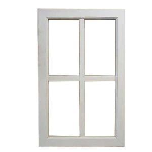 室内窓 透明ガラス フィックス窓 木製 ひのき アンティークホワイト・シャビー 両面桟入り 38×60cm・厚み3.5cm 受注製作 angelsdust