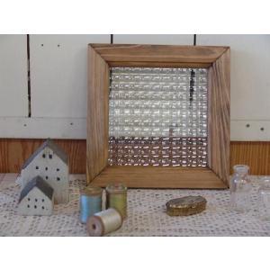 ガラスフレーム FIX窓 室内窓 カフェ窓 フランス製チェッカーガラスのガラスフレーム(20×20cm)アンティークブラウン 受注製作 angelsdust