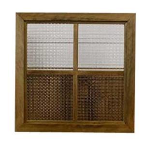 カフェ窓 フィックス窓 木製ひのき チェッカーガラスの室内窓 採光窓 両面仕様桟入り 50×50cm・厚み3.5cm アンティークブラウン 受注製作|angelsdust