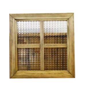 カフェ窓 フィックス窓 木製ひのき フランス製チェッカーガラスの室内窓 採光窓 片面十字桟入り 36×36cm・厚み3.5cm 北欧(アンティークブラウン)受注製作|angelsdust