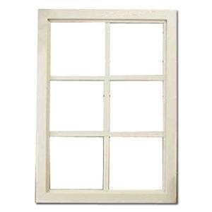 カフェ窓 FIX窓・室内窓 木製ひのき 透明ガラスの室内窓 フィックス窓 両面桟入り 52×72cm・厚み3.5cm アンティークホワイト(シャビー)受注製作|angelsdust