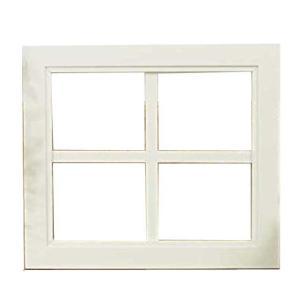 カフェ窓 ウッドフレーム 木製ひのき 窓枠 ガラスが入っていないウィンドウフレーム 片面仕様 桟入りフレーム 40×2×35cm アンティークホワイト 受注製作|angelsdust