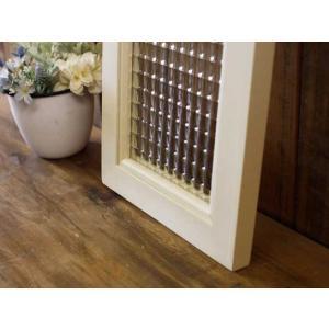60×20cm ひのき 木製 アンティークホワイト ガラスフレーム フランス製チェッカーガラス片面仕様 北欧 受注製作