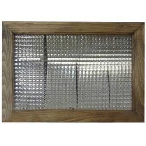ガラスフレーム FIX窓 室内窓 カフェ窓 チェッカーガラス 小窓 ディスプレイ窓(50×35cm)アンティークブラウン 受注製作 angelsdust