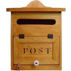郵便ポスト 縦型 ステンシルロゴ入り POST 奥行き広め(ナチュラル)木製郵便受け ひのき 受注製作|angelsdust