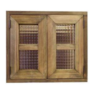 カフェ窓 室内窓 採光窓 フランス製チェッカーガラス 木製ひのき(40×35cm扉厚み3cm)マグネット仕様(アンティークブラウン)受注製作|angelsdust