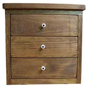アンティーク風ひのきの木製三段小引出し(30×29×30cm)アンティーク真鍮ネームプレートつき (アンティークブラウン) 受注製作|angelsdust