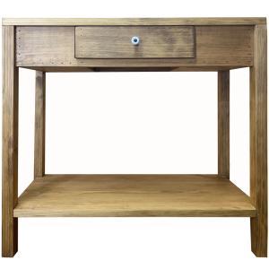ミニテーブル 下段収納 アンティークブラウン w65d34h60cm 引き出しつき 木製 ひのき 受注製作|angelsdust