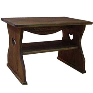 テーブル 正座仕様 アンティークブラウン w54d38h37cm ハート 棚つき 木製 ひのき 受注製作|angelsdust