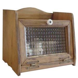 ブレッドケース ミディアムサイズ w30d21h26cm アンティークブラウン フランス製チェッカーガラス 木製 ひのき 受注製作|angelsdust