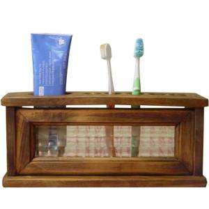 フランス製チェッカーガラスの歯ブラシスタンド 5本収納ハブラシホルダー (アンティークブラウン) 受注製作|angelsdust