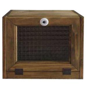 ブレッドケース チェッカーガラス扉 w25d17h21cm アンティークブラウン 角型 ハンドメイド 木製 ひのき 受注製作|angelsdust