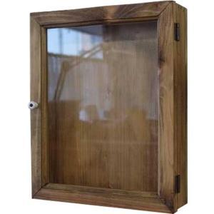 ディスプレイケース 片開き アンティークブラウン w25d7h31cm 透明ガラス 木製 ひのき 受注製作|angelsdust