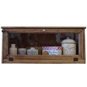 キャビネット 木製ひのき アンティーク調家具 透明ガラス扉 横型キャビネット 見せる収納 おうちカフェ 60×18×26cm アンティークブラウン 受注製作 angelsdust