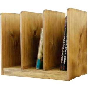 ブックスタンド 木製 ひのき(幅40センチ)仕切り板2枚タイプ 本棚 本立て アンティークブラウン 受注製作|angelsdust